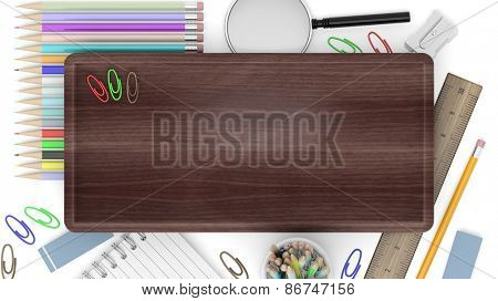 Drawing/writing tools with wooden sign, isolated on white background