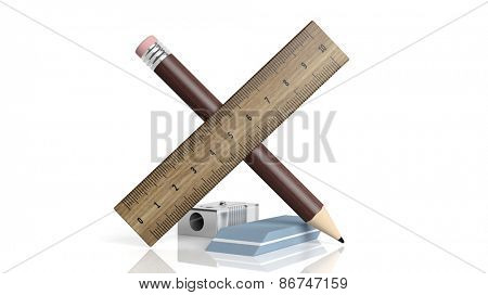 Sharpener, ruler, pencil and eraser, isolated on white background