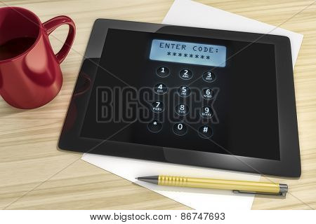 An image of a tablet pc with digital dial plate enter code