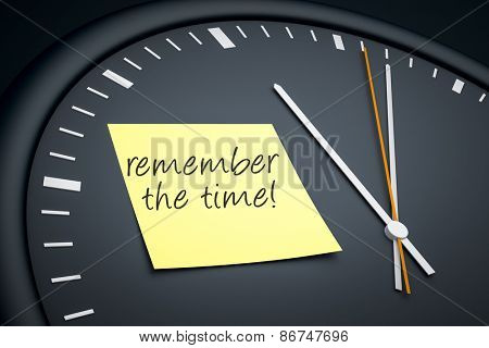 An image of a dark clock with a sticky note and message remember the time