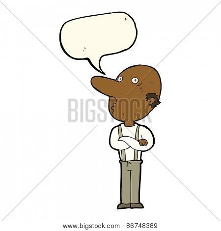 cartoon old man with folded arms with speech bubble