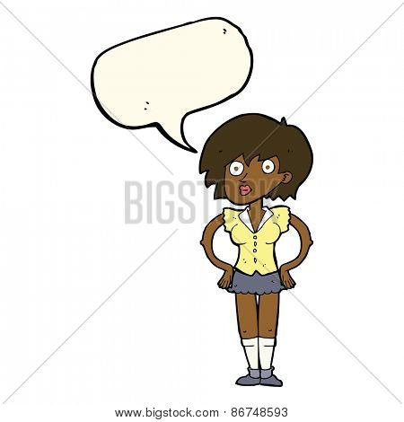 cartoon surprised woman with hands on hips with speech bubble
