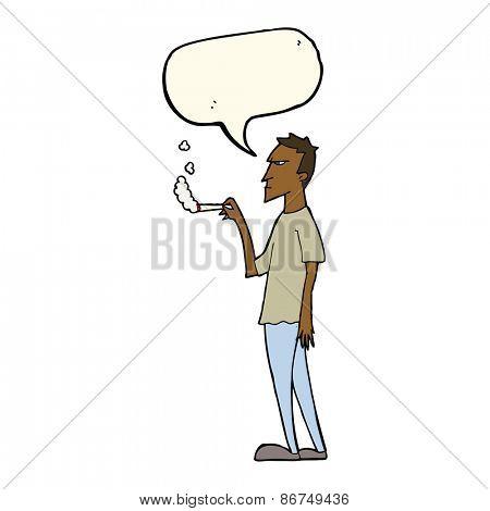 cartoon annoyed smoker with speech bubble
