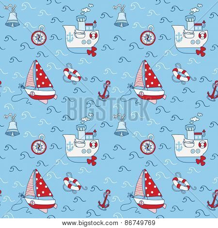 Nautical Sea Seamless Pattern - in vector