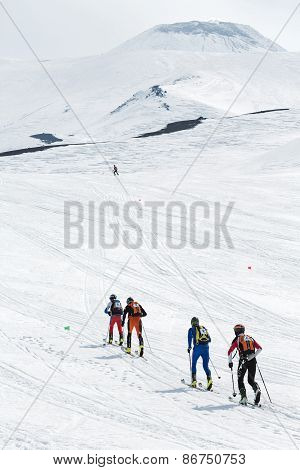 Teams Of Ski Mountaineers Climb The Avacha Volcano On Skis. Team Race Ski Mountaineering. Kamchatka