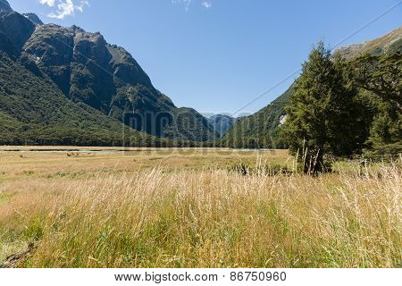 View up grassy valley between mountain ranges. the flats between the distant mountains