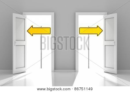 Two doors with directional road signs and copyspace