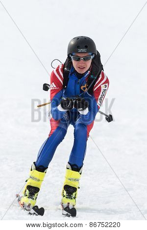 Ski Mountaineer Rides From Mountain. Team Race Ski Mountaineering. Russia, Kamchatka