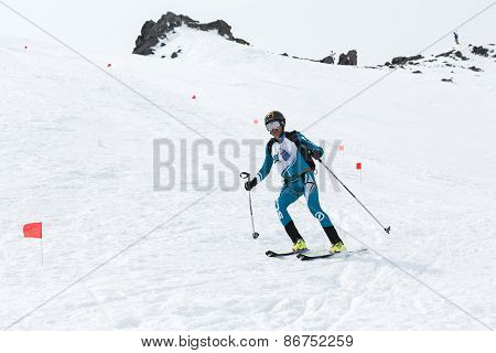 Ski Mountaineer Rides From Volcano. Team Race Ski Mountaineering. Russia, Kamchatka