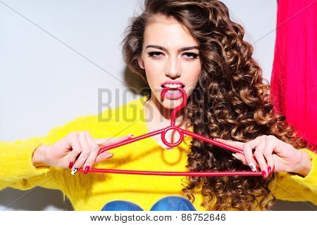 Fashionable Woman With Hanger