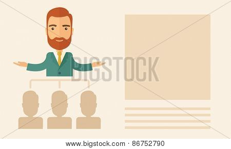 An executive good looking and happy  Caucasian with beard explaining and presenting a business marketing plans to his employees infront of him inside the training room. Planning a business concept.
