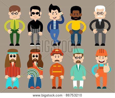 Set of flat men different professions.