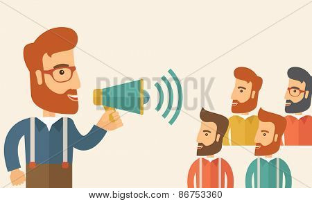 Hipster Caucasian business people with beard at office smiling together happy listening to their speaker holding a megaphone discussing a business proposal. Business meeting concept.