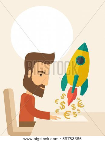 A Caucasian young man with beard sitting with those EURO and DOLLAR sign in front of him, it is a symbol of  starting new project. Launch a new innovation product concept. A contemporary style