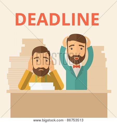 Two sad face hipster Caucasian gentlemen with beard have a big problem because they failed to submit their project  on the deadline with their  two hands raising up. Disappointed, miserable concept.