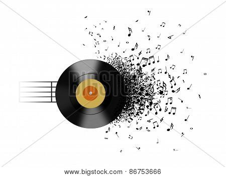 Vinyl Record And Music Notes