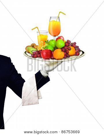 Waiter Serving Fruits And Orange Juice