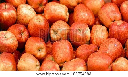 Red Apples at the Market Background