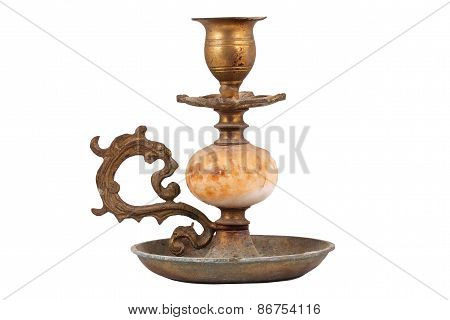The Vintage Candlestick On The White Background