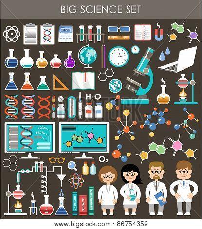 Big Science Set. Infographics.