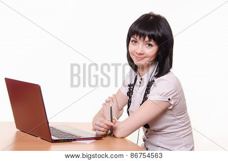 Smiling Girl - Call-center Employee At The Desk