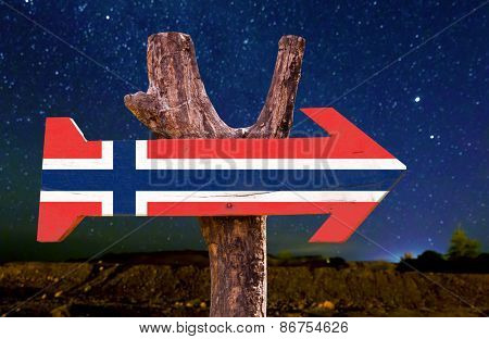 Norway Flag wooden sign with beautiful night