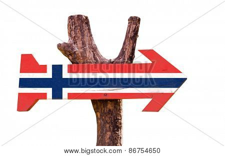 Norway Flag wooden sign isolated on white background