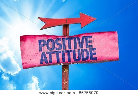 Positive Attitude sign with sky background