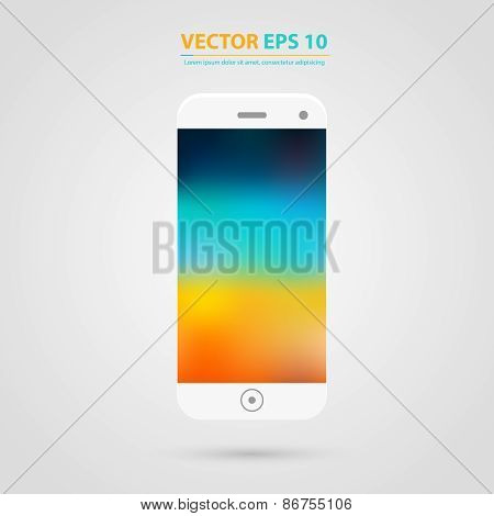 Smart Phone with Isolated. Realistic white vector.
