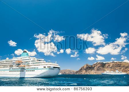 Cruise Liners Near The Santorini Island, Greece