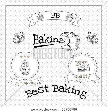 Baked pastry cakes and traditional brean food labels with frames and ribbons illustration