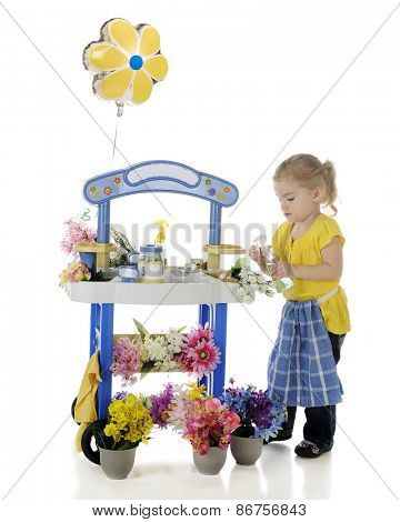 An adorable preschooler spraying the roses on her flower stand.  signs on the stand left blank for your text.  On a white background.
