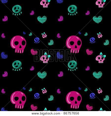 seamless pattern in the style of emo skull.