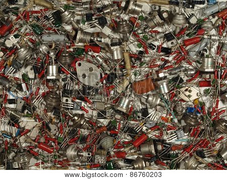 Background Of Various Electronic Components Of Soviet Production.