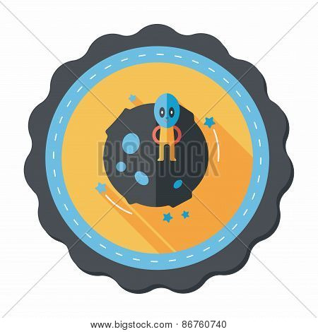 Space Planet And Alien Flat Icon With Long Shadow,eps10