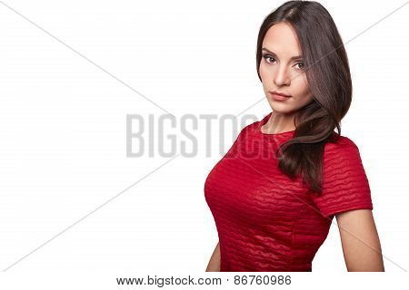 Pretty girl in red shirt isolated on white background