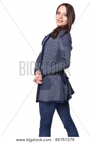 Portrait of lovely beautiful girl in winter clothes isolated on white background