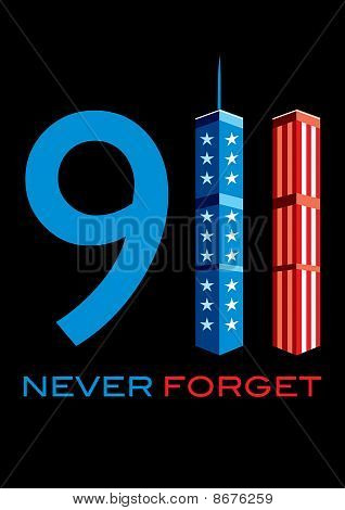 911 Never Forget - World Trade Centre With American Flag