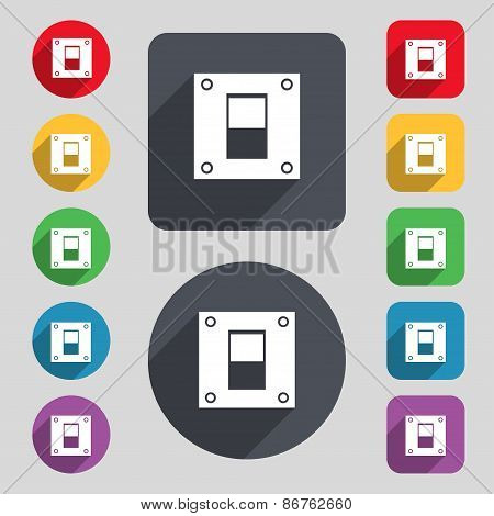 Power Switch Icon Sign. A Set Of 12 Colored Buttons And A Long Shadow