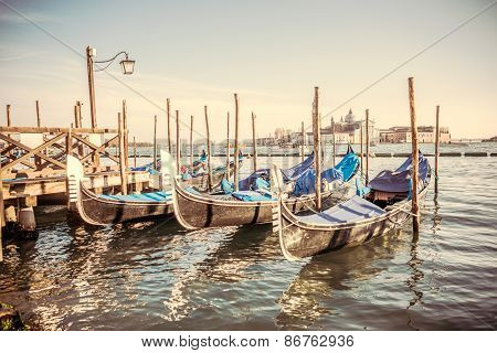 Gondolas At The  Piazza San Marco, Venice