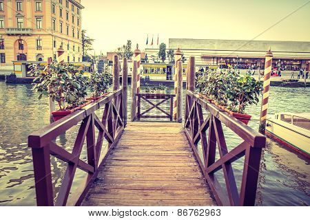 Wooden Moorage In Venice