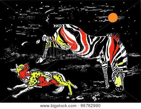 Zebra and hyena colored