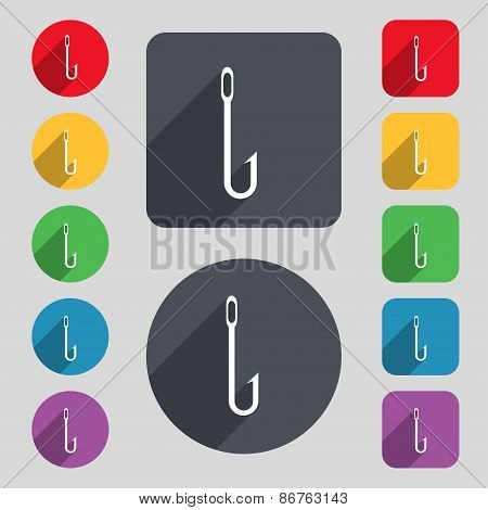 Fishing Hook Icon Sign. A Set Of 12 Colored Buttons And A Long Shadow