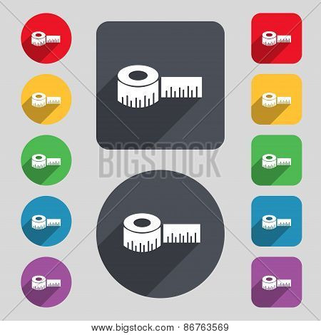 Roulette Construction Icon Sign. A Set Of 12 Colored Buttons And A Long Shadow