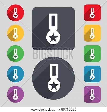Award, Medal Of Honor Icon Sign. A Set Of 12 Colored Buttons And A Long Shadow
