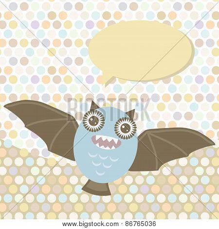 Polka dot background, pattern. Funny cute bat monster on dot background. Vector