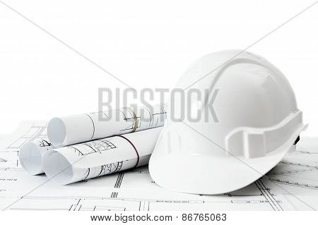 Repair work. Drawings for building and helmet on white a background.