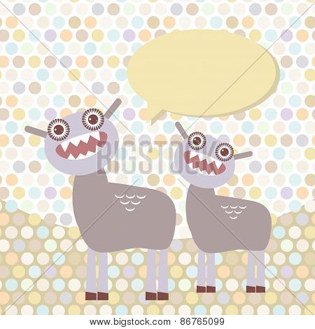 Polka dot background, pattern. Funny cute dinosaur monsters on dot background. Vector
