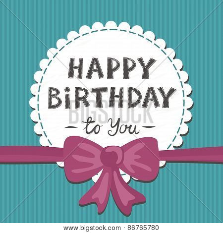 birthday card with pink bow and ribbon on turquoise striped background