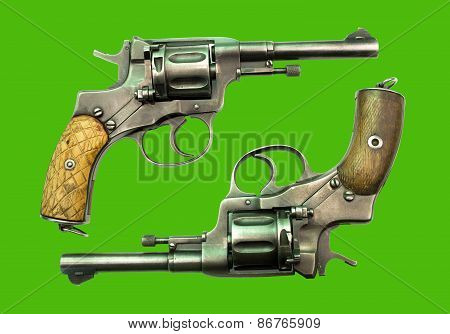 Revolver On A Green Background